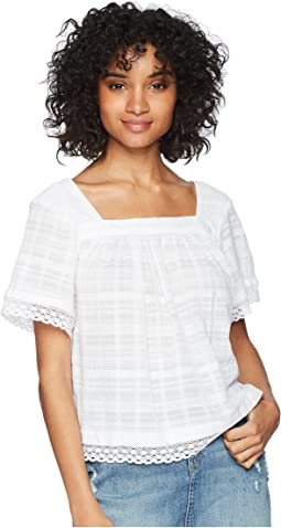 Texture Jacquard Square Neck Blouse with Lace Trim
