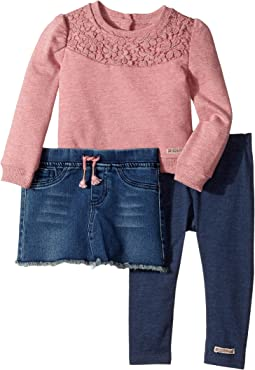 Hudson Kids - Three-Piece Heathered French Terry w/ Lace Overlay Stretch Denim Skirt Jersey Leggings (Infant)
