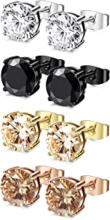 FIBO STEEL 4 Pairs Stainless Steel Stud Earrings for Men Women Ear Piercing Earrings Cubic Zirconia Inlaid,3-8 mm