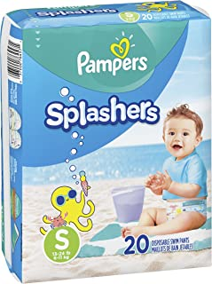 Swim Diapers Size 3 (13-24 lb), 20 Count - Pampers Splashers Disposable Swim Pants, Small, Pack of 2
