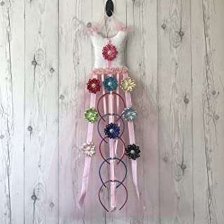 Bead&Cord Pink Tutu Dress Hair Bow Holder Hair Accessories Organizer [Tutu Pink Favorite Glitter]