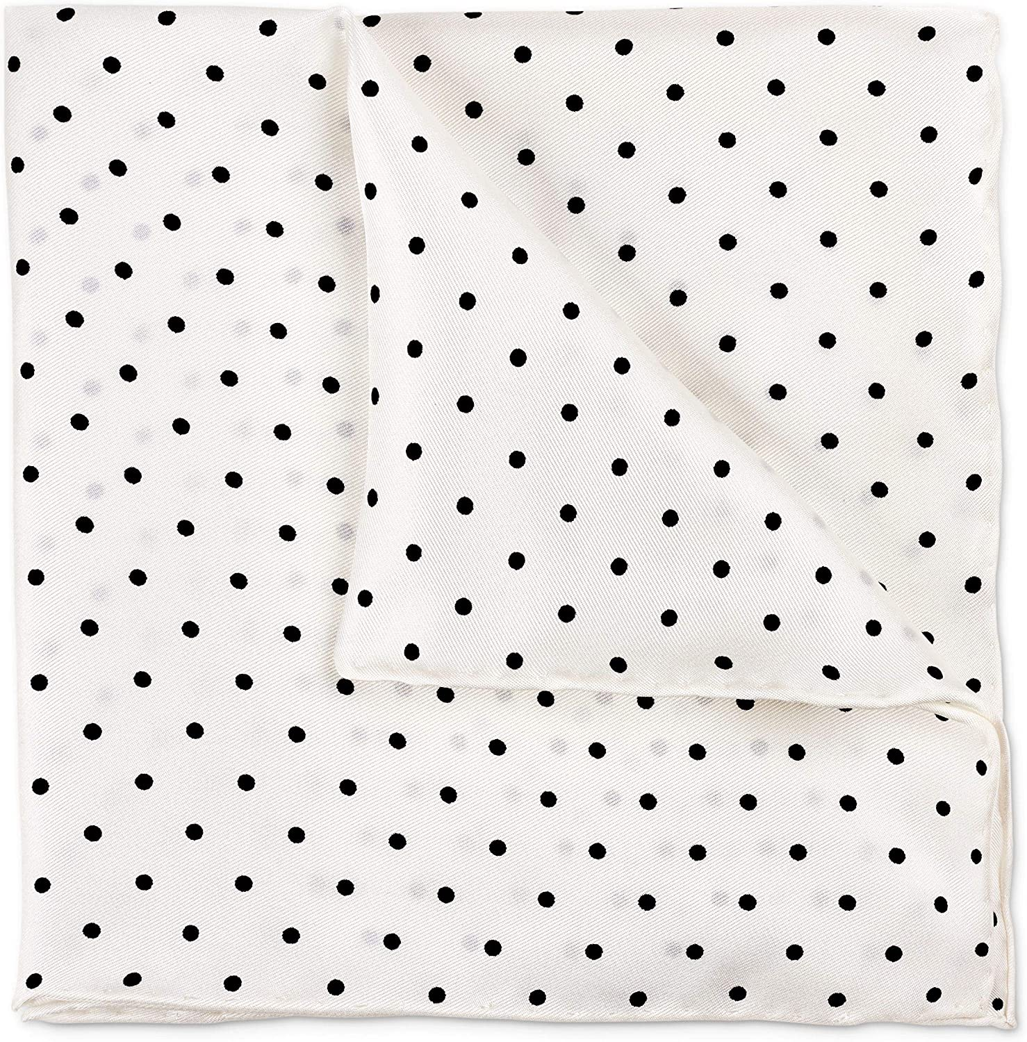 100% Silk Twill Solid White Pocket Square Gift Boxed by Puentes Denver (Various Colors)