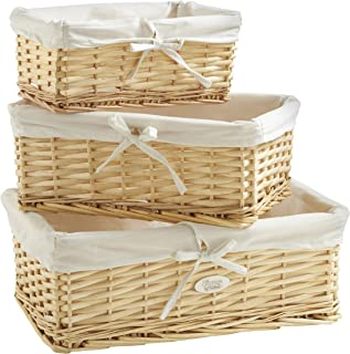 VonHaus Set of 3 Natural Wicker Baskets with Removable Washable White Liners - Wicker Storage Containers for Home and Bathroom Organization