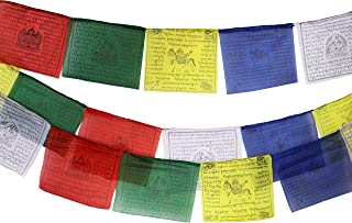 Tibetan Prayer Flag 10 x 10 Inches Large Roll of 25 Flags – Traditional Design with 5 Element Colors – Lung Ta Wind Horse Outdoor Flag - Handmade in Nepal