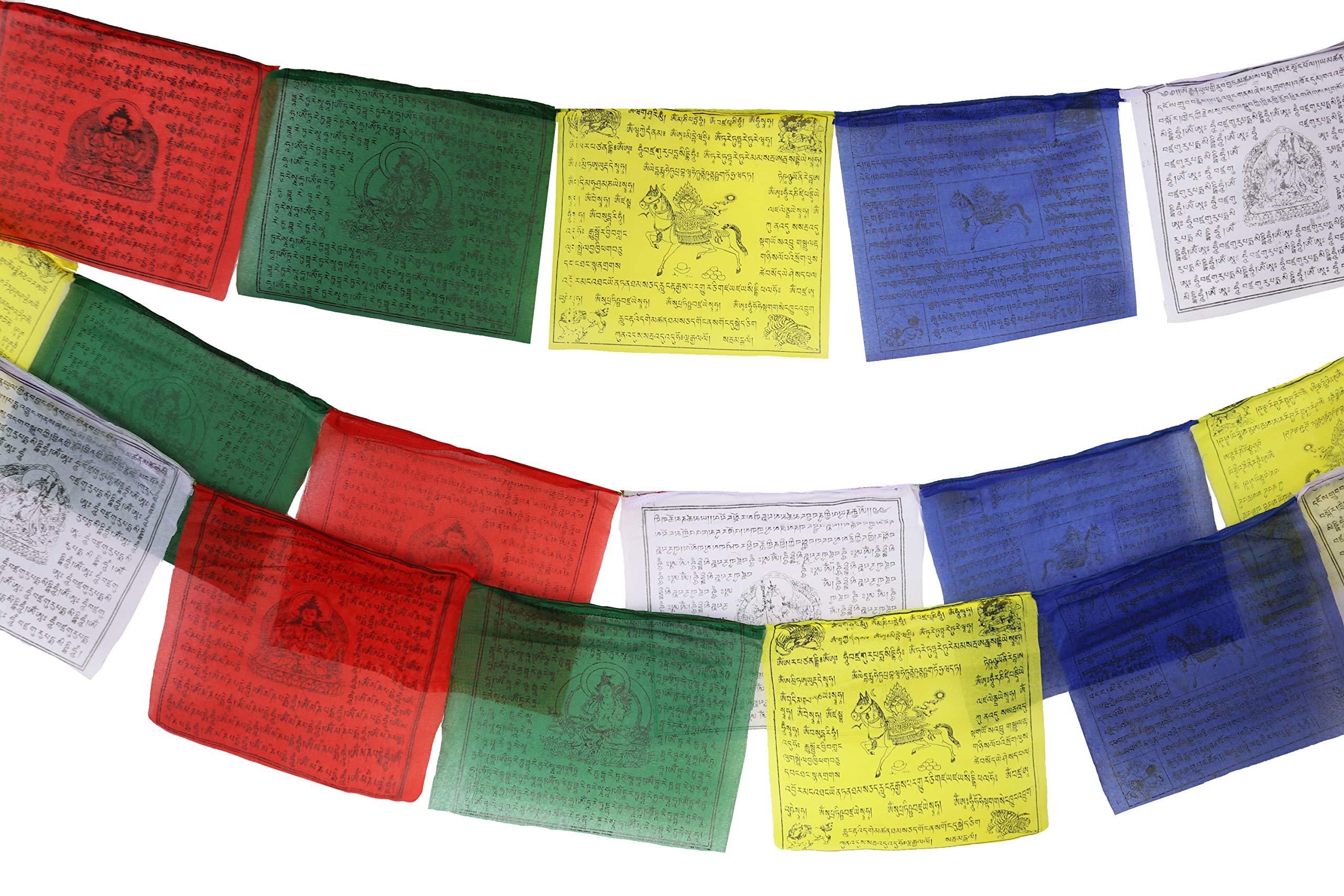 Bandera de oración tibetana de 10 x 10 pulgadas, rollo grande de 25 banderas – Diseño tradicional