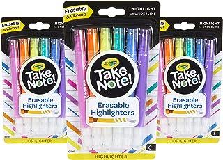 Crayola توجه داشته باشید هایلایت های قابل پاک کردن ، مجله بولت و وسایل مدرسه ، 18 عدد ، هدیه