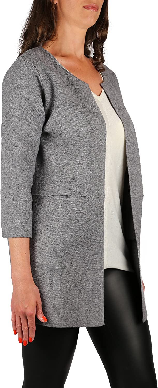 Offene Damen Langstrickjacke/Long-Cardigan/Blazer lang (Longblazer) / Pullover/Mantel/Strick mit 3-4 Ärmeln One Size Gr.36-38-40 Grau