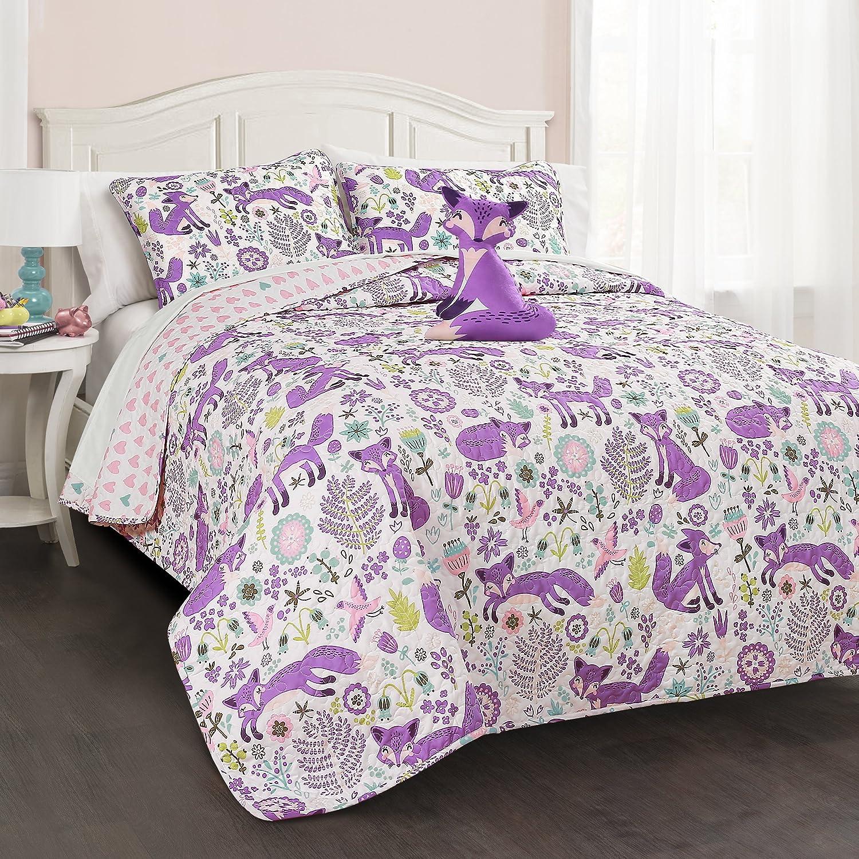 Lush Decor Pixie Fox 4 Piece Quilt Set, Full Queen, Purple Pink