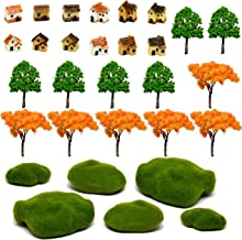 Pixie Glare Fairy Garden. 30 Pieces KIT. Miniature Micro Houses, Trees, and Moss Stones. Create Your Fairy Garden, or add to an Existing Scene (12 Houses + 12 Trees + Moss Stones)