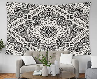 Pamime Beach Decorations for Home, Home Decor Tapestry Nament Paisley Bana Print Silk Neck Scarf Kerchief Square Pattern St Dorm Room Bedroom Living Room 80X60 Inches(200X150Cm) Bedspread Inhouse
