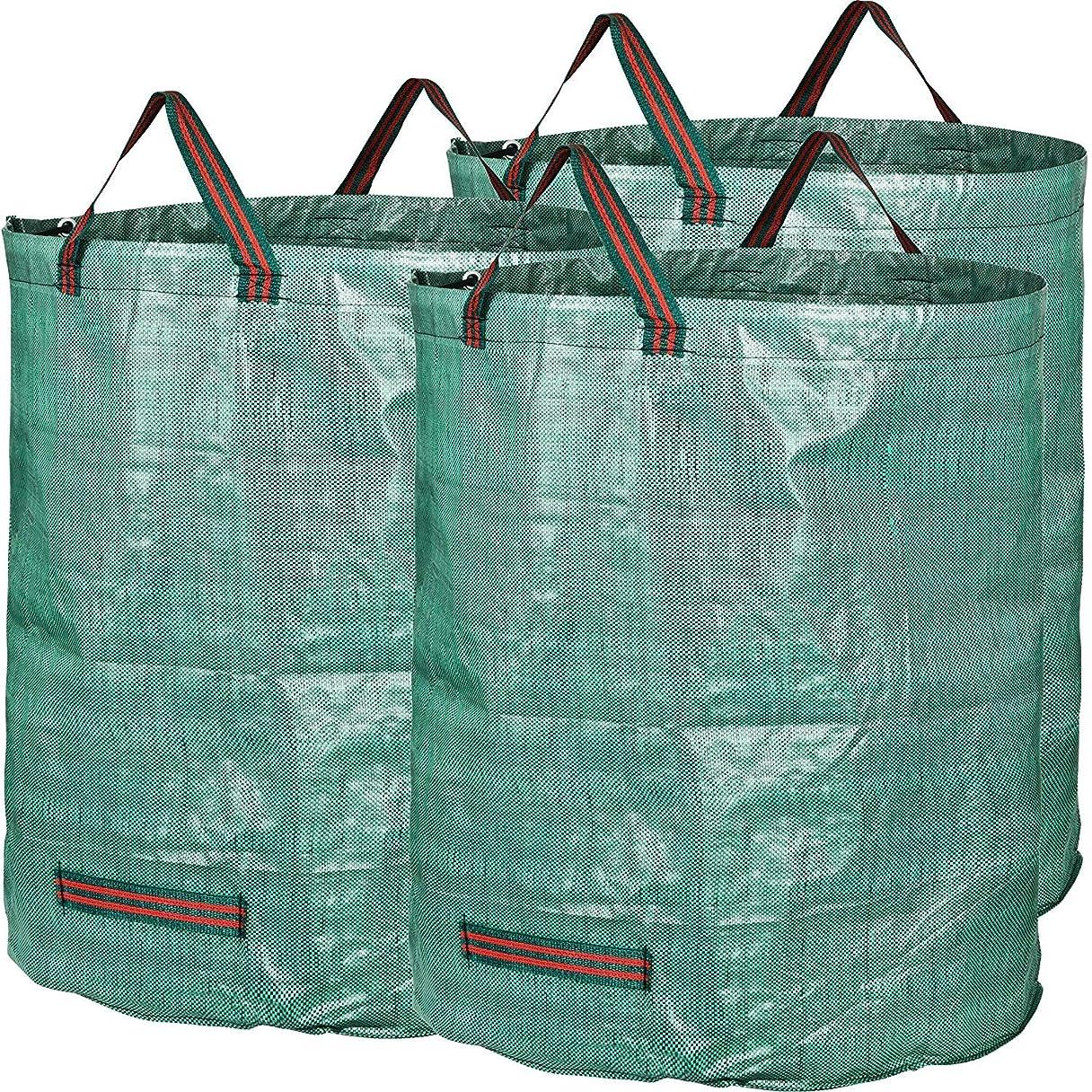 抵当ミリメートル感嘆ガーデンバッグ?–?3パック72ガロン再利用可能な折りたたみ可能なHeavy Duty Gardeningバッグ?–?芝生プールガーデンリーフヤードWaste Bag withポータブルハンドル、t-tags含ま 3 x 72 Gallons