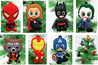 Comic Book Holiday Super Hero Christmas Ornament Set - Unique Shatterproof Plastic Design by Holiday Ornaments