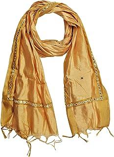 YOUTHQUAKE Women's Silk Dupatta With Golden Border & Plastic Mirror Work