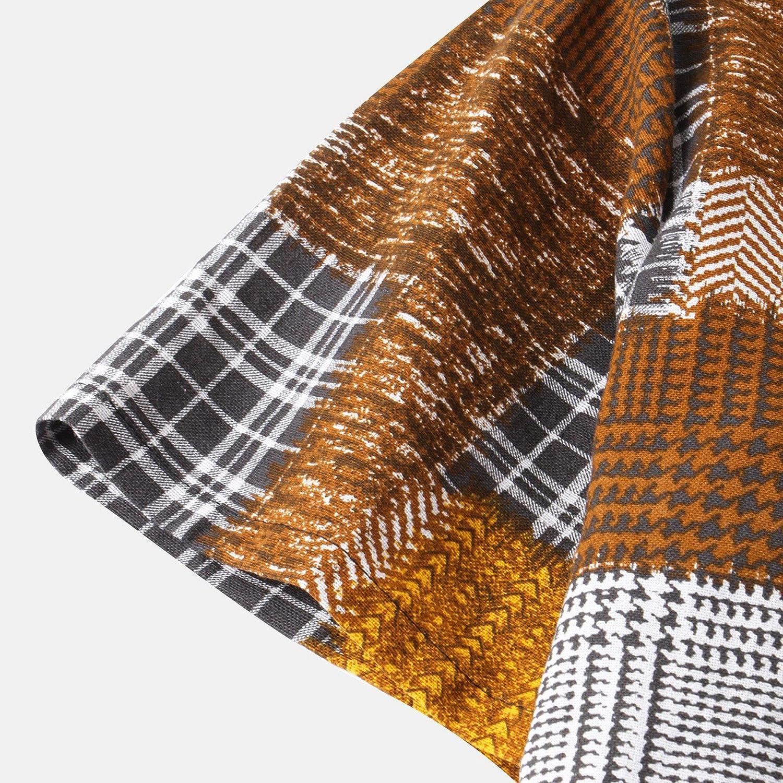 Men's Tie-dye Shirts Cotton Linen Short Sleeve Printed/Striped/Plaid Vintage Top Summer Casual Button Down Shirt