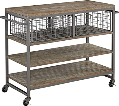 Home Styles Barnside Metro Contemporary Mixed Media, Metal and Wood Kitchen Cart with Heavy-duty Casters