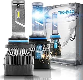 TECHMAX Mini 9006 LED Headlight Bulbs,60W 10000Lm 4700Lux 6500K Cool White Extremely Bright 30mm Heatsink Base CREE Chips HB4 Conversion Kit(of 2)