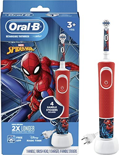 Oral B Kids Electric Toothbrush Featuring Marvel's Spiderman, for Kids 3+, 1 Count