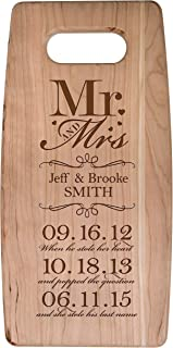 LifeSong Milestones Personalized Cherry Cutting Board Mr and Mrs When He Stole her Heart and Popped The question Wedding Ideas for Him, Her, Couples Established Dates to Remember 7