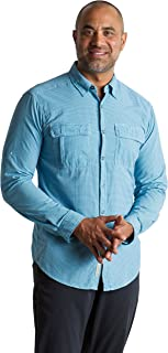ExOfficio Men's BugsAway Halo Check Lightweight Long-Sleeve Shirt, X-Large, Navy Check