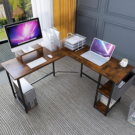 Magic Life L-förmiger Tisch Eckschreibtisch, 56-Zoll-Eck-Computertisch mit Holz-Monitorständer Riser und CPU-Ständer, Spieltisch mit…
