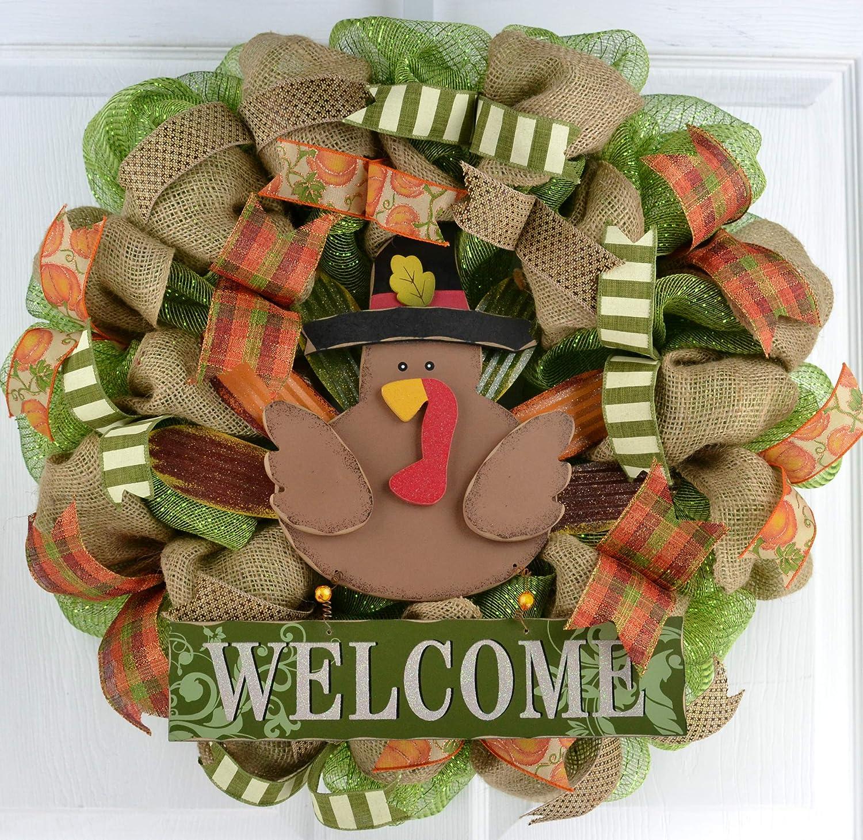 Turkey Wreath Fall Thanksgiving Deco M Regular dealer Wreath; Front store Mesh Door