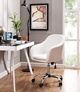 Home Office Chair Executive Mid Back Computer Table Desk Chair Swivel Height Adjustable Ergonomic with Armrest (White)