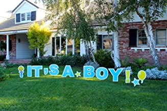 It's A Boy! Outdoor Announcement Decoration Card, Yard Sign Comes 22 Inches high with Stakes
