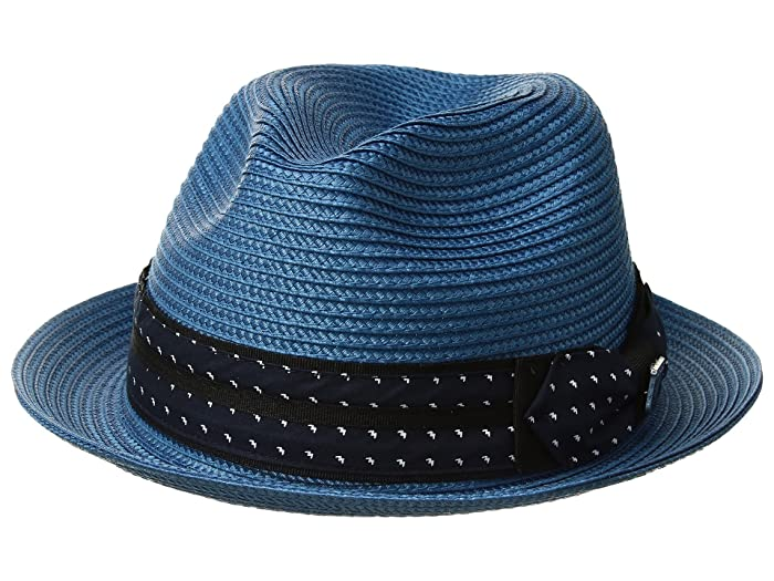 Stacy Adams Poly Braid Pinch Front Fedora with Fancy Bow (Pacific Blue) Caps