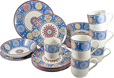 Amazon Com Tudor Royal Collection 24 Piece Premium Quality Round Porcelain Dinnerware Set Service For 6 Sumaya Blue See 10 Designs Inside Dinnerware Sets