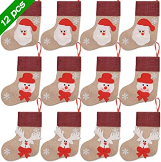 Ivenf Christmas Mini Stockings, 12 Pcs 7 inches Burlap with 3D Santa Snowman Reindeer, Gift Card Silverware Holders, Bulk Treats for Neighbors Kids, Small Rustic Red Xmas Tree Decorations Set