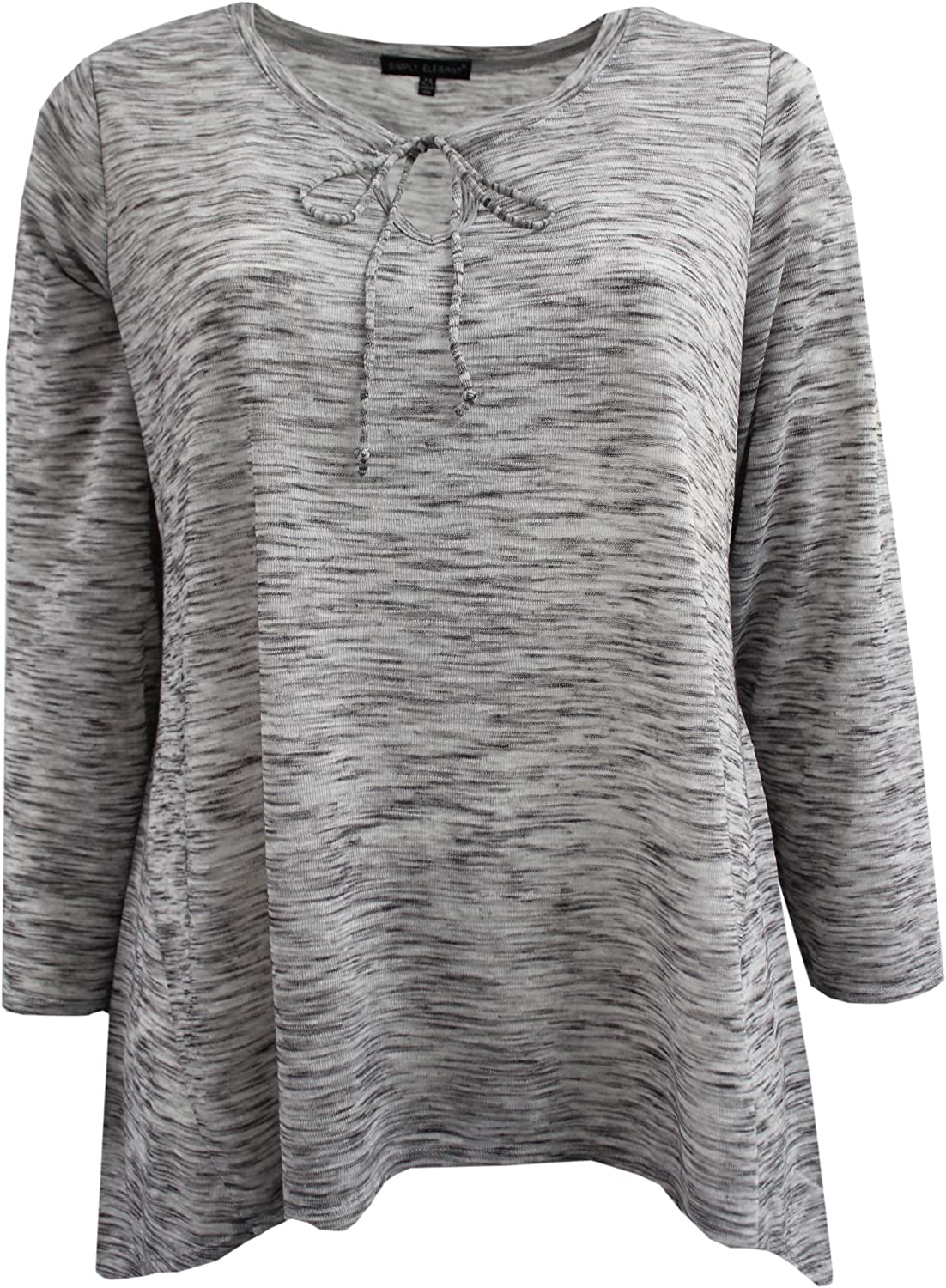 BNY Women's Plus Size Long Sleeve Tie Chest Top Knit T-Shirt Blouse Tee 1X-3X