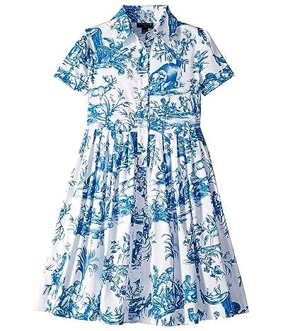 Oscar de la Renta Childrenswear Floral Cotton Day Dress (Toddler/Little Kids/Big Kids) (Blue) Girl
