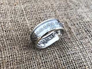 Canadian Coin Ring, made from Silver 50 cents Canada 1959. Half dollar Canada.