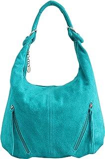 AMBRA Moda Damen Ledertasche Shopper Wildleder Handtasche Schultertasche Beuteltasche Hobo Tasche Groß WL822