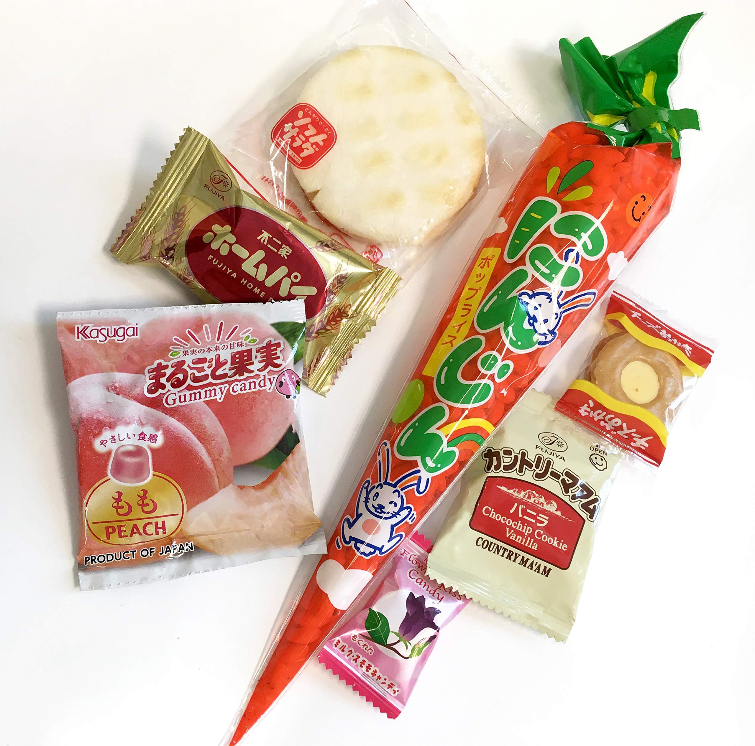 Samurai Dagashi Set, Japanese Snack Assortment 36pc with Samurai Kid sticker