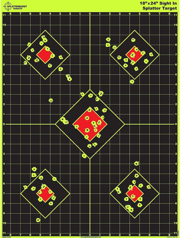 Splatterburst Targets - 18 x 24 inch - Sight in Shooting Target - Shots Burst Bright Fluorescent Yellow Upon Impact - Gun - Rifle - Pistol - Airsoft - BB Gun - Air Rifle - Made in USA : Sports & Outdoors