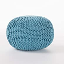 Christopher Knight Home Poona Hand Knitted Artisan Round Pouf (Aqua)