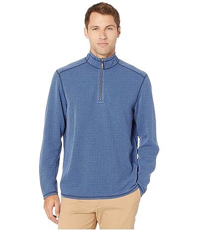Tommy Bahama Double in Paradise Reversible 1/2 Zip Sweater (Dockside Blue) Men