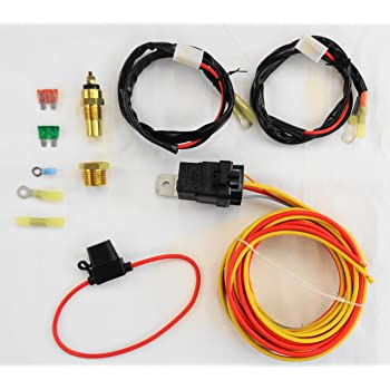 Amazon.com: NEW DUAL ELECTRIC COOLING FAN WIRING INSTALL KIT 185/165  THERMOSTAT 50 AMP RELAY: AutomotiveAmazon.com