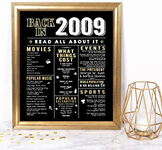 Katie Doodle 10th Birthday Decorations Party Supplies Gifts for 10 Year Old Boy Girl | Includes 8x10 Back-in-2009 Sign [Unframed], BD010, Black & Gold