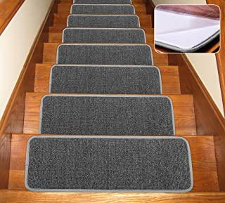 Seloom Non-Slip Stair Treads Carpet with Anti Skid Rubber Backing Specialized for Indoor Wooden Steps, Removable Floor Rugs for Stairs(Dark Grey Set of 13,25.5×9.5In)