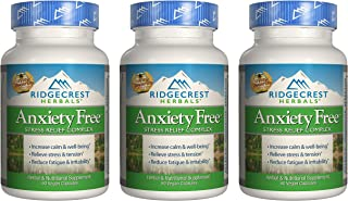 Ridgecrest Anxiety Free, Herbal and Nutritional Stress Support, 60 Vegan Capsules (3 Pack)