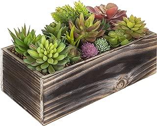 MyGift 12-Inch Artificial Succulent Arrangement in Rustic Wood Planter Box