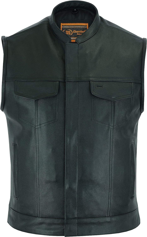 Daniel Smart Concealed Leather Vest, Milled Cowhide, Scoop Collar & Hidden Carry, Snap Enclosure - DS189A