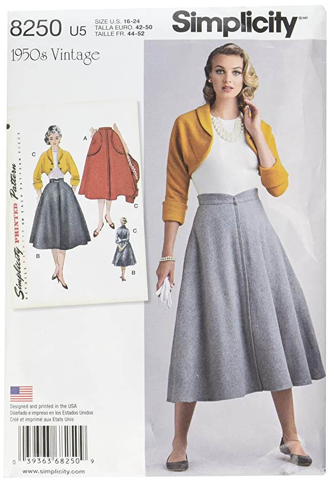 Simplicity Vintage Simplicity Pattern 8250 Misses' Vintage 1950's Skirt and Bolero, Size: U5 (16-18-20-22-24),