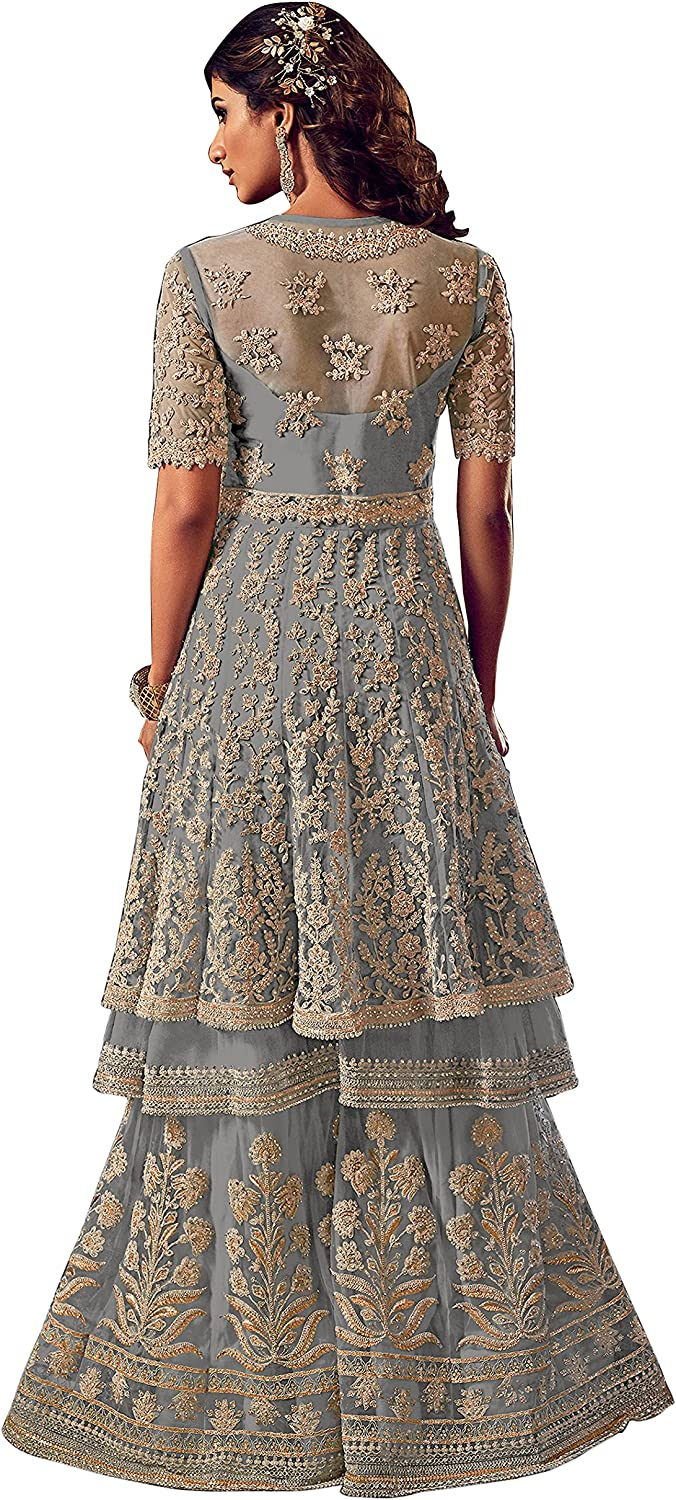 Women's Grey Ready To Wear Net And Georgette Full white Embroidered work Wedding Sharara suit By Ramdev Enterprise (Grey,44)