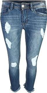 dollhouse Women's Skinny Capri Jeans with Frayed Hem