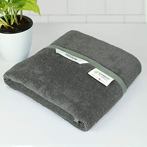 Heelium Lightweight 400 GSM Quick Dry Bamboo Towel Travel Sports Home Odour Free High Absorbency Ultra Soft Large Bath Size 140 x 70 cm Grey 1 Piece