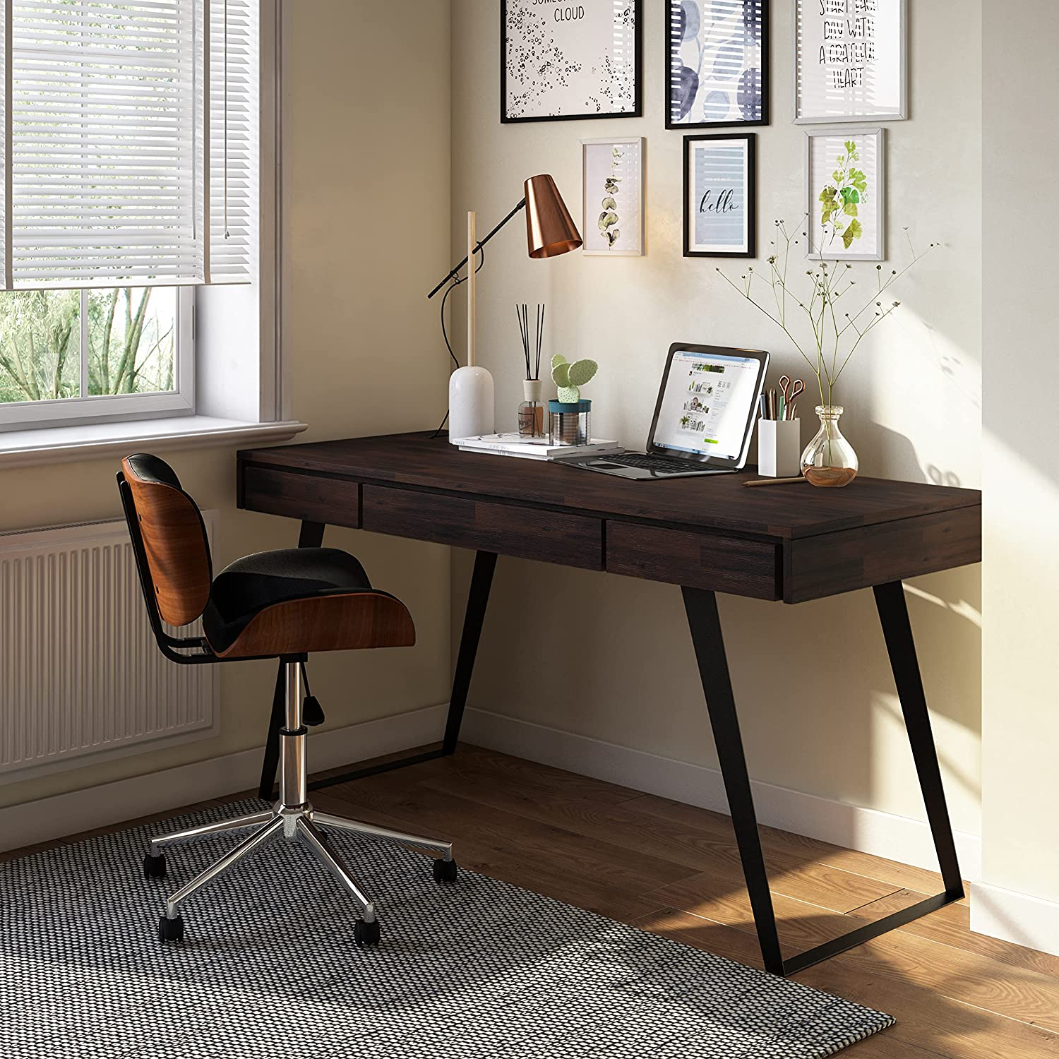 SIMPLIHOME Lowry SOLID WOOD and Metal Modern Industrial 54 inch Wide Home Office Desk, Writing Table, Workstation, Study Table Furniture in Distressed Golden Wheat with 2 Drawerss