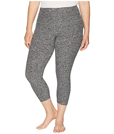 Beyond Yoga Plus Size Spacedye High Waisted Capris (Black/White Spacedye) Women